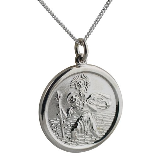 Silver 24mm round St Christopher with Curb chain 24 inches
