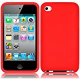 Red Soft Silicone Xylo-Skin Case for the Apple iPod Touch 4 4G (8GB 32GB 64GB) MP3 Player.