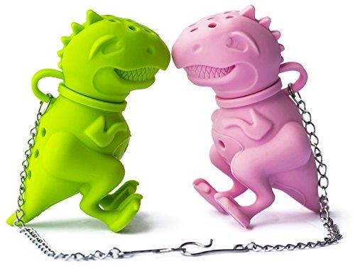 Altarmoss Tea Rex Dinosaur Tea Infuser - 100% Food Grade Silicone Tea Infuser (Set of 2, Green, Pink)