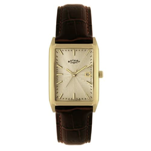 Rotary-Mens-Quartz-Watch-with-Yellow-Dial-Analogue-Display-and-Brown-Leather-St