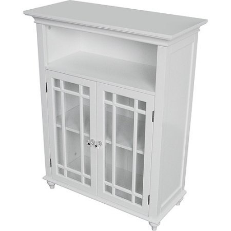 Heritage Double Door Floor Cabinet, White | Glass Doors with White Wooden Trim