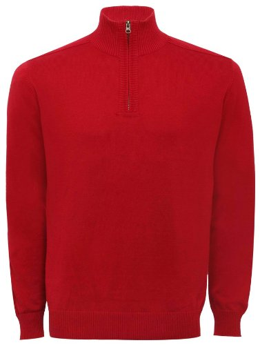 Mens Pull Over Half Zip Plain Knit Jumper Deep Red L