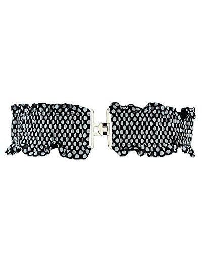 "Ruffle Waist Elastic Clincher Belt (X-Large:34""~45"", Black Polka Dots)"