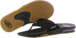 Reef Men\'s Fanning Sandal, Black/Silver, 9 M US