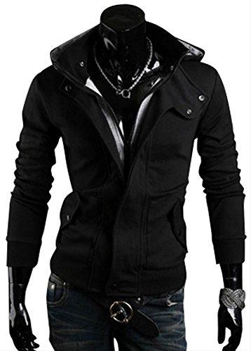 (アルファーフープ) α-HOOP メンズ ジャケット 立て 襟 フード 付き パーカー 大きい サイズ も M ~ XL まで 大きい サイズ も 大人 男 性 用 T10 (2..黒(Lサイズ))