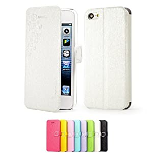Mulbess Apple iPhone 5C DearStyles Étui Housse en cuir ultra-slim pour iPhone 5C Couleur Blanc