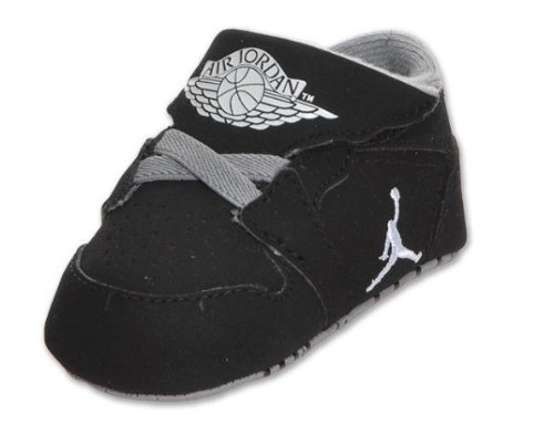 INFANTS NIKE JORDAN 1ST CRIB (CB) (370305 011) (2 M, BLACK / WHITE-STEALTH)