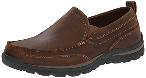 Skechers USA Men's Superior Gains Slip-On Loafer, Dark Brown, 10.5 XW US