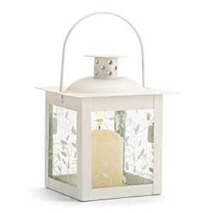 Gifts & Decor Small White Lantern Ivory Glass Candleholder
