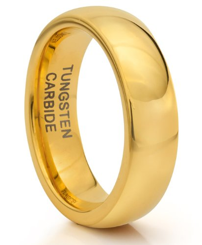 6MM Tungsten Carbide Classic Gold Wedding Band Ring (Available Sizes 4-11 Including Half Sizes) (6.5)