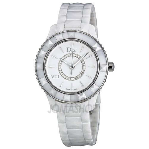 Christian Dior VIII Diamond White Ceramic and Steel Ladies Watch CD1231E2C002