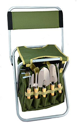 10-piece-Gardening-Tool-Set-with-Zippered-Detachable-Tote-and-Folding-Stool-Seat-with-Backrest