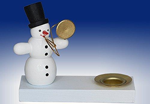 Kerzenhalter-Schneemann-m-Posaune-Weihnachten-Deko-Volkskunst-Seiffen-7cm-Erzgebirge-NEU