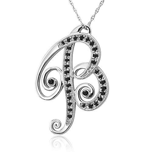 14k white gold alphabet initial letter b black diamond With letter b pendant
