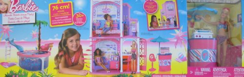 Barbie Ultimate Beach House Party 30+ Piece Playset Fully Furnished Home W Doll, Pool, Backyard Bbq Set & More! (2012) front-772520