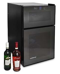 Klarstein Cave à vin design - Armoire à vin réfrigérée avec écran tactile (68 litres, 24 bouteilles, 30dB) - noir vitres teintées