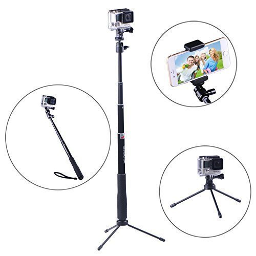 Smatree SmaPole Q3 Telescoping Pole / Selfie Stick with Tripod Stand for GoPro Hero 2018 Action Camera/GoPro Fusion/Hero 6/5/4/3+/3/2/1/Session Cameras / for Compact Cameras / Cell Phones