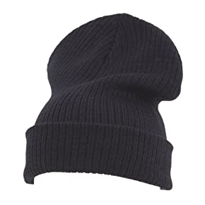 Mens Plain Thermal Knitted Slouch Beanie Hat