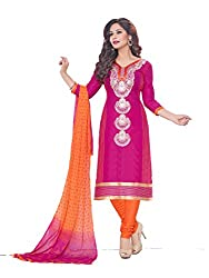 PShopee Pink & Orange Cotton Embroidery Unstitched Multistylist Dress Material