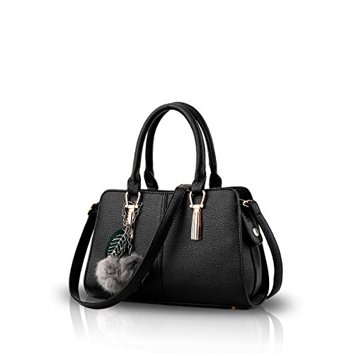 Nuove donne / spalla femminile di cuoio della borsa del messaggero di Crossbody Borsa borsa PU Nero Nicole & Doris