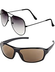 Unisex Uv Protected Combo Pack Of Aviator Sunglasses And Wrap Around Sunglasses ( Black Shd Black - Brown Wrap...