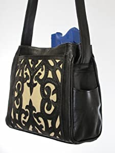 Concealed Carry Crossbody Purse - Gorgeous, Tooled Leather Overlay