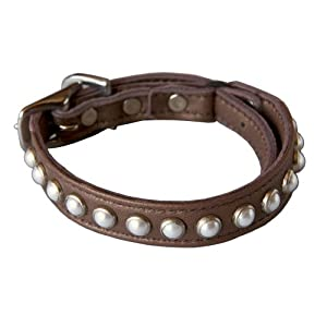 South Sea Pearl Leather Safety Cat Collar - Romantic (Bronze)