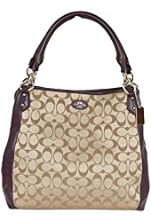 Coach Collette Signature Canvas with Leather Trim Hobo in Khaki Violet