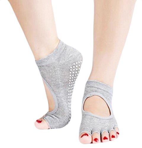 Doux coton gris Toe Yoga Socks Non Slip découvert Instep Et Toe