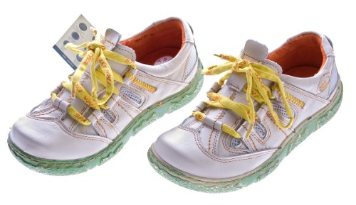 Damen Leder Halb Schuhe Used Look Comfort Sneakers Weiss TMA Eyes Gr. 37