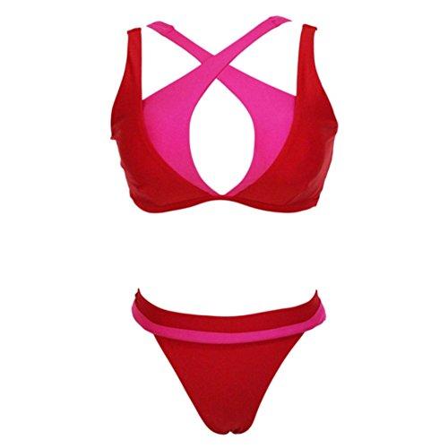 SW10587C2 Polyester Women Bikini Swimsuit Size S - Wave Wow Face Emoji Swimmer (Baywatch Trunks)