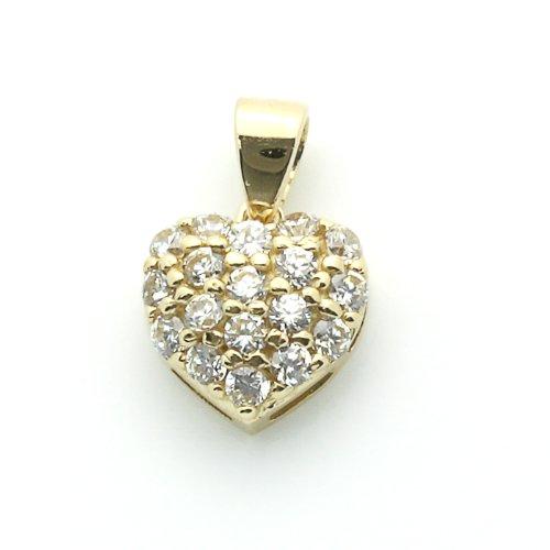 14K Gold Pendant Heart Cubic Zirconia Yellow Gold Charm, 0.28