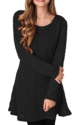 Mulisky Womens Elasticity Sleeve Round Neck Cable Knit Pullover Dress Sweater L