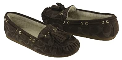 COACH ANITA CHESTNUT/NATURAL EMBOSSED SUEDE MOCCASINS WOMEN SIZE 6 M