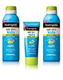 Neutrogena Wet Skin Kids Sunblock Spray (Spf 70 ) Pack of 2 with Bonus Wet Skin Kids Sunblock Lotion (Spf 45)