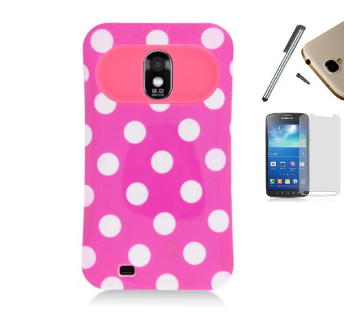 For Samsung Galaxy Sii S 2 S2 D710 (Boost Mobile, Sprint, Us Cellular) Hybrid Card Wallet Hard Back Case With Soft Tpu Plastic Candy Gel Skin Border Cover + [World Acc] Tm Brand Lcd Screen Protector + Silver Stylus Pen + Black Dust Cap Free Gift (Pink Whi