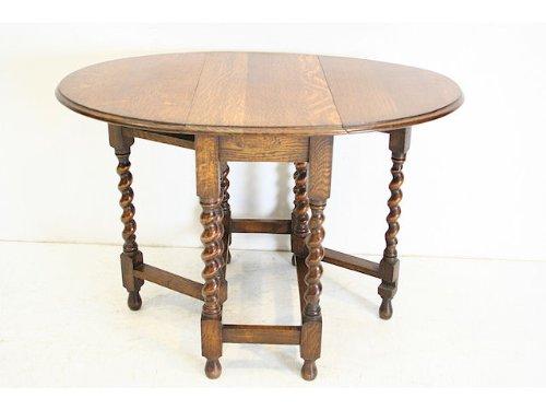 cd-11 1920年代イギリス製アンティーク オーク ツイストレッグ ゲイトレッグサイドテーブル