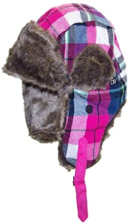 David & Young Plaid Russian/Trapper Winter Hat with Softer Than Mink Faux Fur (One Size) - Pink/Blue/Green