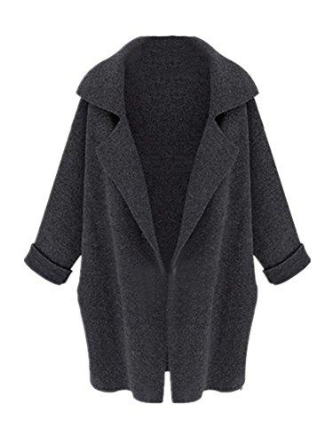 Molly Donna Suit Collare Knit Cardigan Medio Lungo Cappotto Grigio Scuro