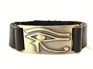 Horus Eye Bracelet, Leather, Adjustable
