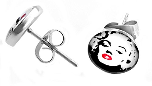 1 Pair of Hypoallergenic Marilyn Monroe Norma Jeane Mortenson Baker 316L Surgical Stainless Steel Collectible 10mm Stud Earrings