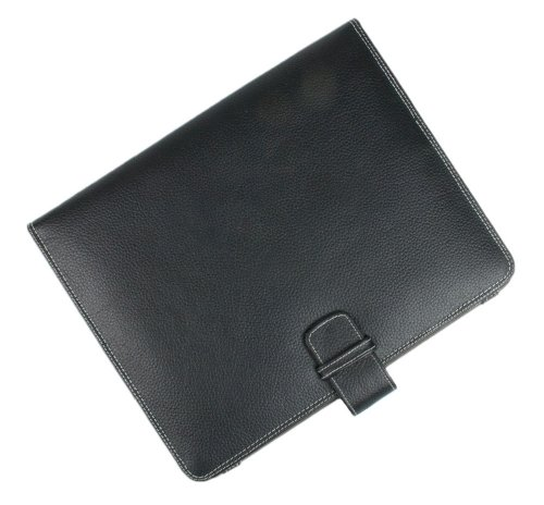 Starlite Real Leather Executive BLACK IPAD 1 & 2 COVER Folio Wallet-FREE SHIPPING