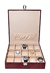 Essart PU Leather Watch Organiser Box for 18watches-A-Black-Cherry