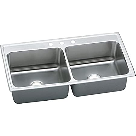 Elkay DLR4322105 5-Hole Gourmet Double Basin Drop-In Stainless Steel Kitchen Sink, 22-Inch x 43-Inch