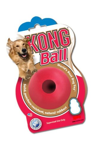 KONG Ball with Hole Dog Toy, 2-1/2-inch Ball, Red