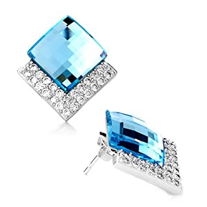 Pugster Elegant March Birthstone Aquamarine Crystal Stud Earrings