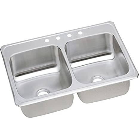Elkay CR43221 1-Hole Gourmet Double Basin Drop-In Stainless Steel Kitchen Sink, 22-Inch x 43-Inch