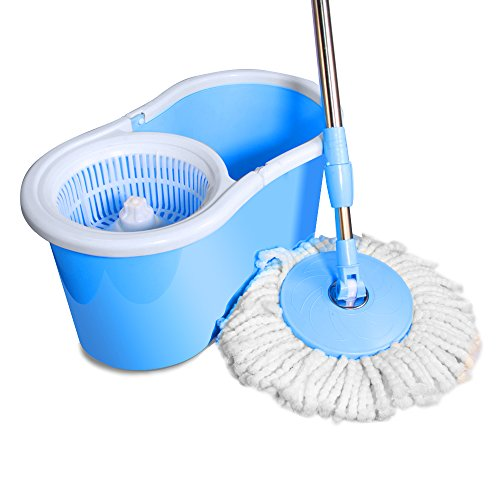 Ohuhu Easy Wring Spin Mop and Bucket System with 2 Mop Heads, No Foot Pedal Needed