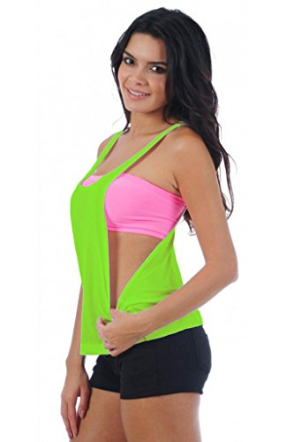 Women'S Juniors Open Sides Sleeveless Tank Top: Neon Green (Med)