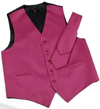 Brand Q Men's Tuxedo Vest, Tie & Pocket Square Set-Fuschia-6XL